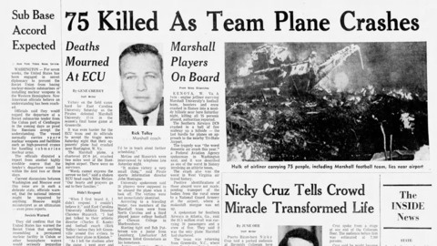 50 years ago, Marshall's plane crashed flying home from ECU. Remembering those touched