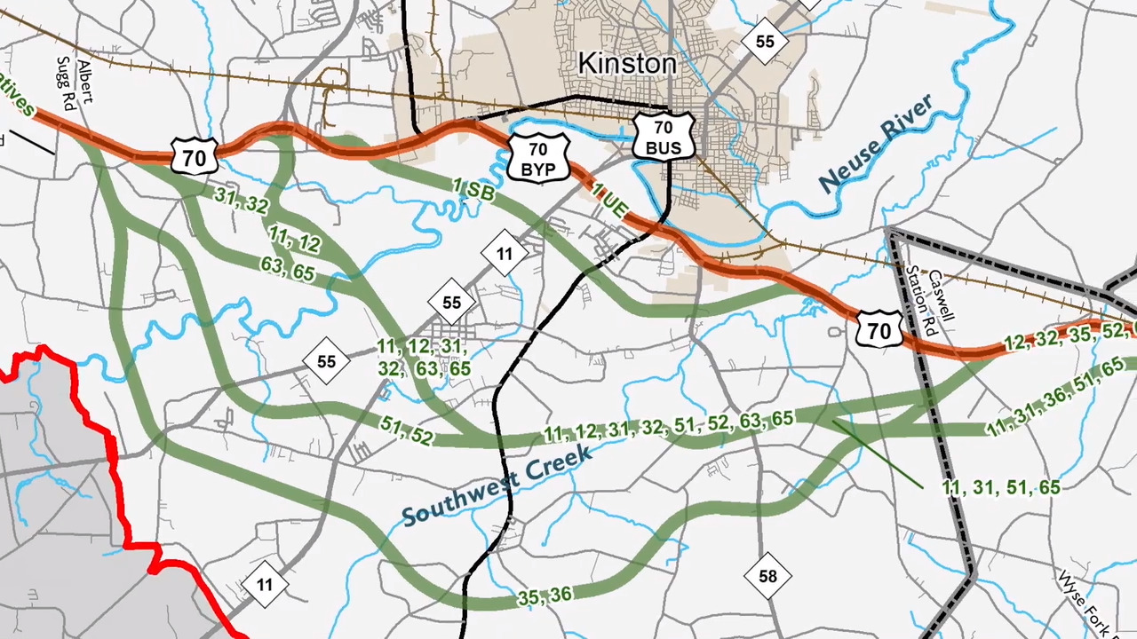 Freeway Auto Center >> Kinston bypass: NCDOT weighing 12 plans for new U.S. 70 ...