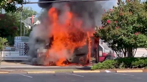 Video shows city bus explode after catching fire in North Carolina