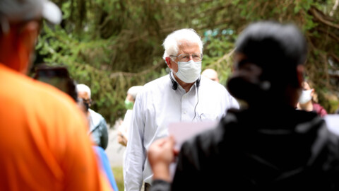 US Rep. David Price speaks with concerned residents at an NC mobile home park owned by a hedge fund