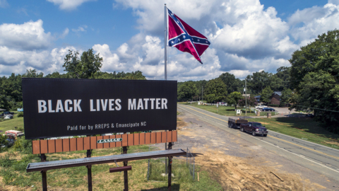 BLM billboard leaving Confederate flag site in Pittsboro. Raleigh billboard going up.