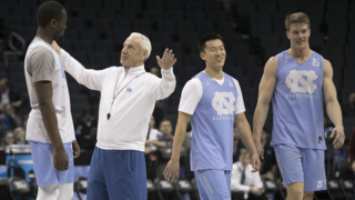 Tar Heels have some fun during their NCAA practice session in Charlotte