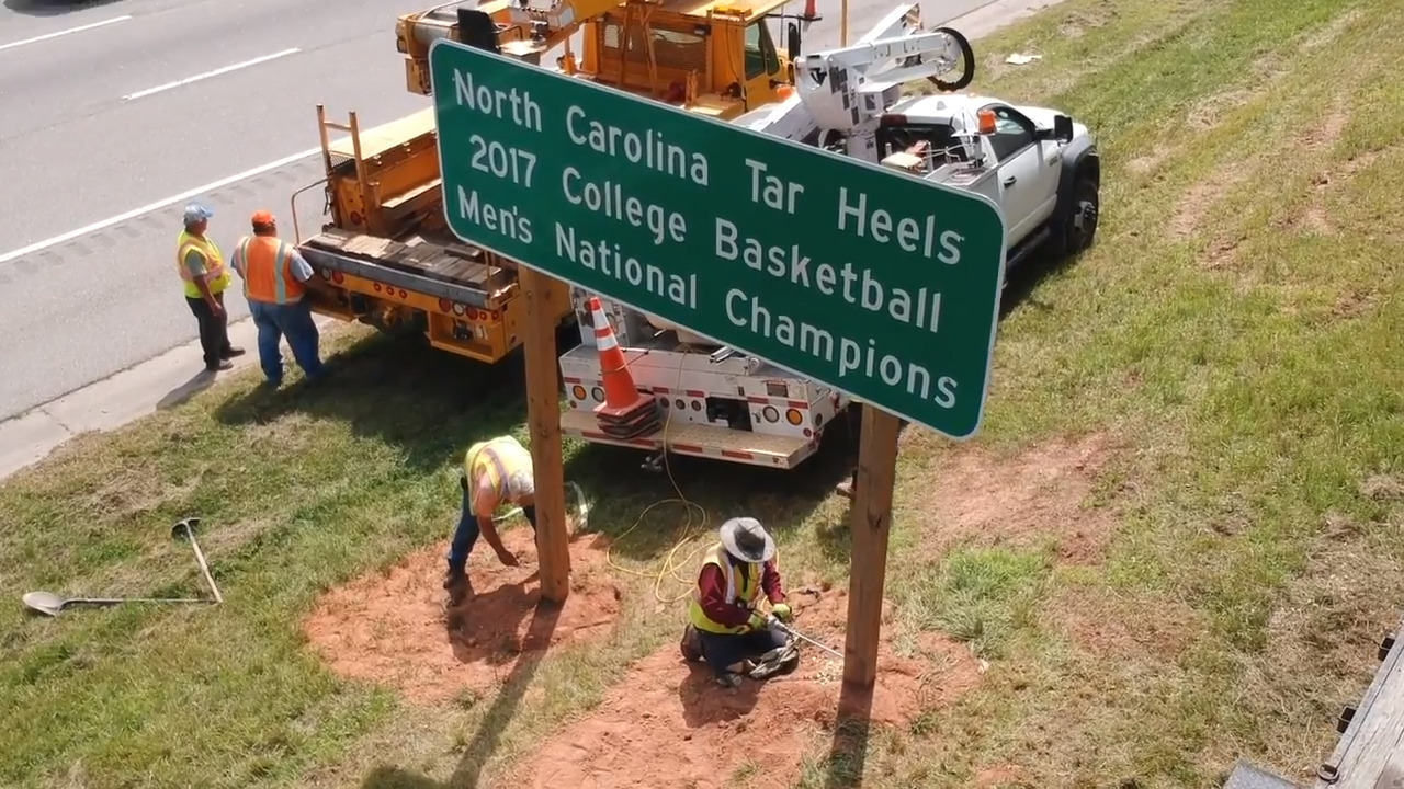 UNC Tar Heels' 2017 championship sign goes up again along I