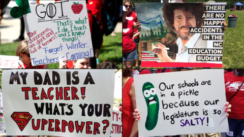 From Avengers to Harry Potter, teacher protest signs are all about making a statement