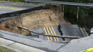 Newton Road in Raleigh collapses following Monday's rain