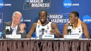 UNC's Theo Pinson and Coach Roy Williams have some press conference fun