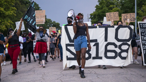 Raleigh Black Lives Matter protest reaches 35th day, urges Gov. Cooper to veto bill