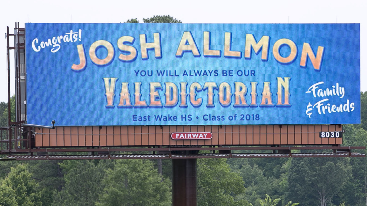 Digital billboard honors 'our valedictorian,' since NC school district won't, dad says