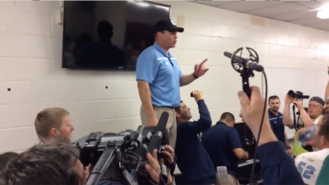 Watch Mike Houston in action after his Citadel team upset South Carolina in 2015