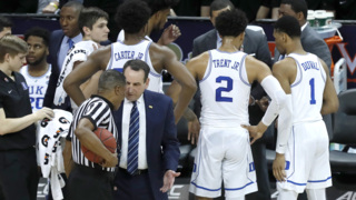 Duke's Grayson Allen and Coach Mike Krzyzewski talk about the flagrant foul