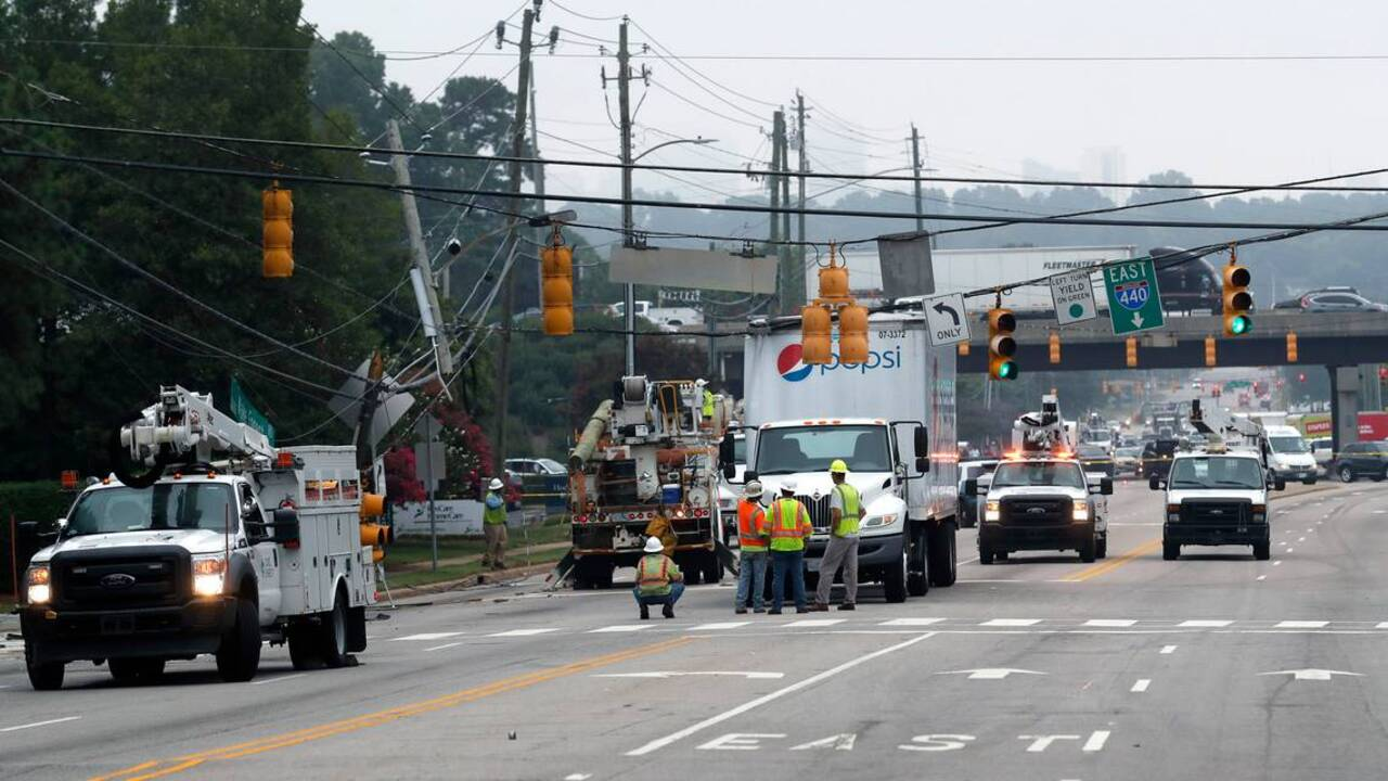Downed utility pole snarls North Raleigh traffic Monday