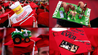 The mortarboards of NC State University