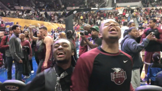 NC Central Eagles and fans celebrate MEAC Tournament championship