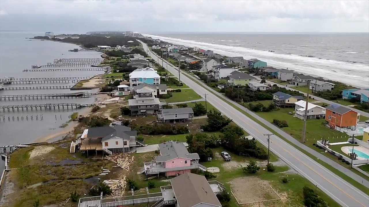 Drone video shows damage to Emerald Isle after Hurricane