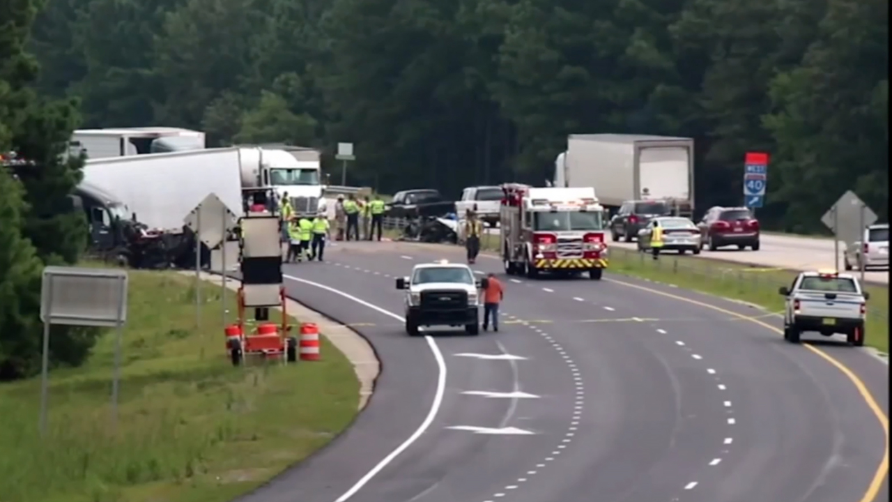 Fatal I-40 accident near Clayton began when a car crossed the median and hit a truck