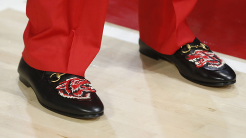 Those shoes worn by NC State's Kevin Keatts