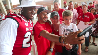 Lots of fun and smiles as NC State football players greet fans at Meet the Pack day