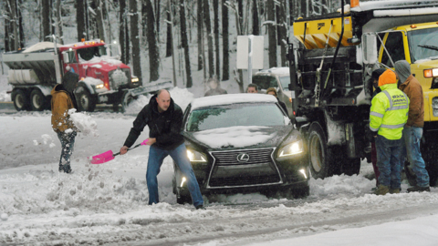 Snow and ice make for treacherous travel along I-40 in the Triangle