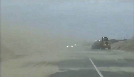 Strong Wind and Blowing Sand Reduce Visibility on North Carolina's Outer Banks
