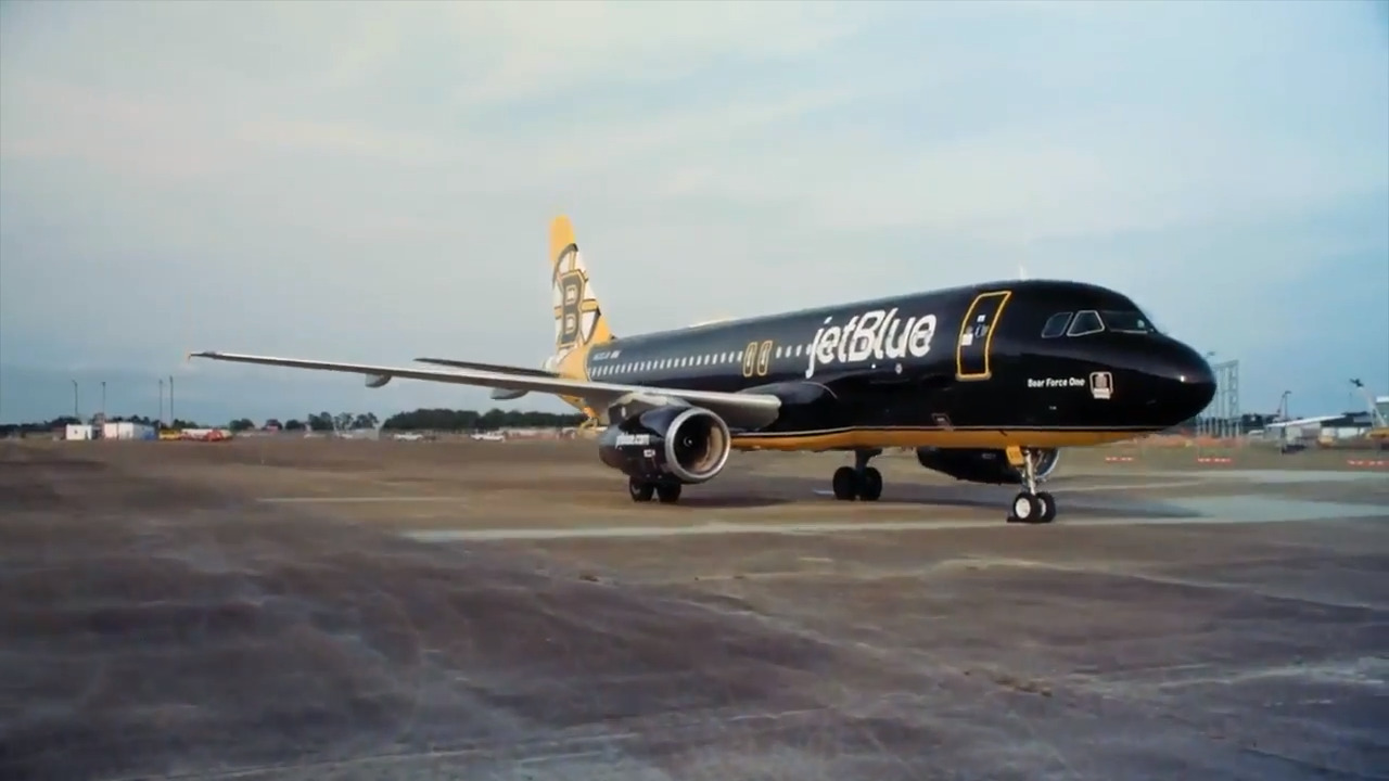 JetBlue sends Boston Bruins-themed jet, Bear Force One, to