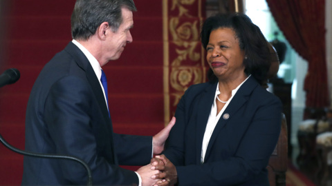 NC Republicans want budget cuts for new African-American chief justice. Democrats cry foul.