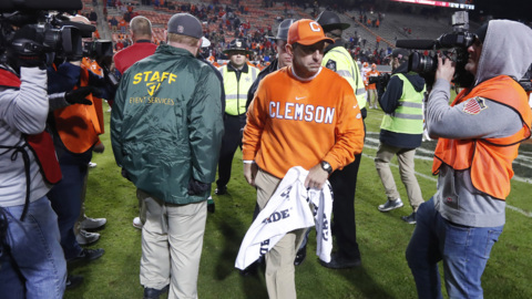 Clemson's Dabo Swinney answers if his handshake with Dave Doeren was 'frosty'