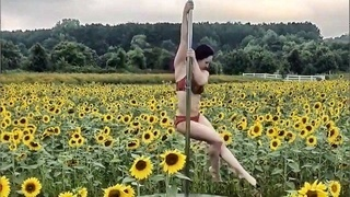 Professional pole dancer creates video in Raleigh sunflower field