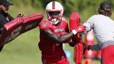 NC State football's first fall camp practice in full pads