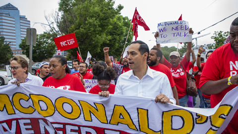 Presidential candidate Julián Castro rallies with NC workers for $15 minimum wage