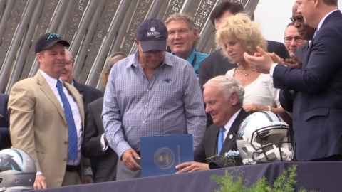 'Welcome to Rock Hill': Carolina Panthers make move official at downtown pep rally.