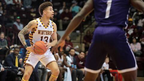 Winthrop's Hunter Hale celebrates after Big South tournament win