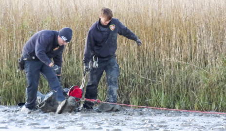 Wearing special shoes, Hilton Head firefighters pull woman to safety from pluff mud