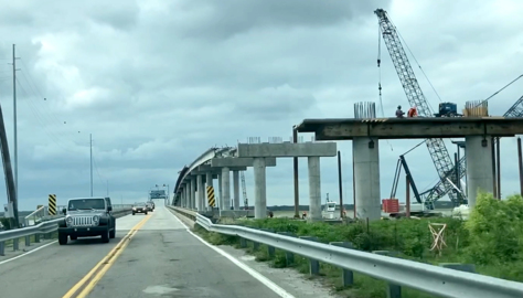 See new bridge rise from Harbor River on a drive from Hunting Island State Park