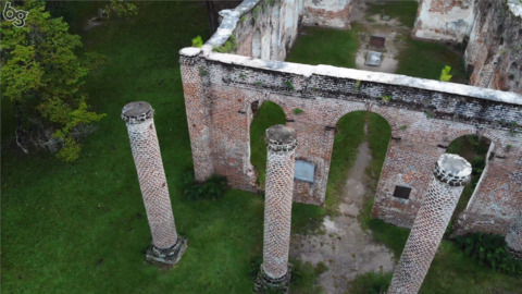 Drone footage of Old Sheldon Church ruins