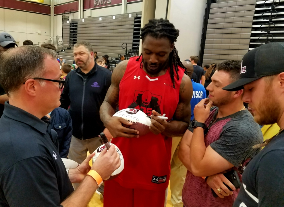c36ba325503 Watch  Jadeveon Clowney reconnects with old friends at D.J. Swearinger  basketball game