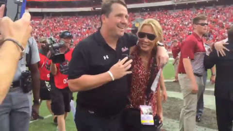 Will Muschamp celebrates big win over No. 3 Georgia