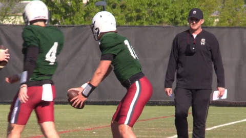 Marcus Satterfield works with Gamecock QBs during 2021 spring practice