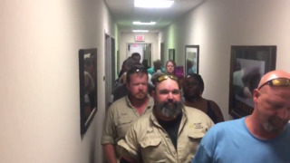 Customers and media confront Tri-County board in separate meeting space
