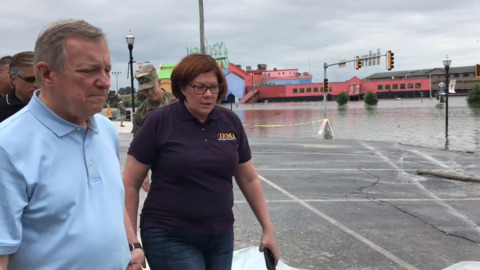 Flood fight isn't over after Mississippi River crests, IEMA director tells Senator Durbin