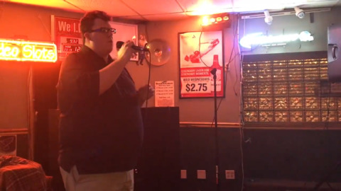 He was shy, challenged and bullied as a child. Now he's 'king of karaoke' in Belleville.