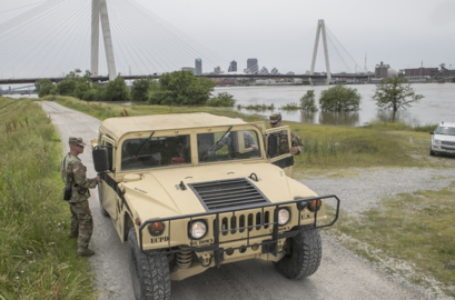 As metro-east river levels recede, National Guardsmen will head downstate