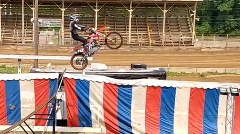 Stunt motorcyclist falls during performance at Shriners Circus in Belleville