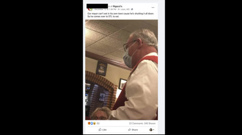 Belleville mayor apologizes for eating inside St. Louis restaurant