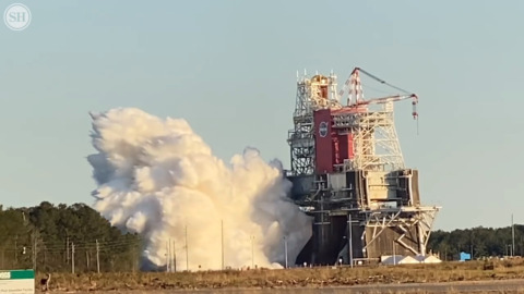 Watch as NASA fired up four RS-25 rocket engines for the first time