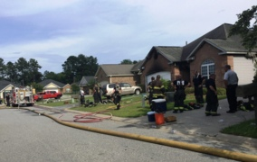 A 76-year-old Warner Robins woman was inside with her caretaker when the blaze ignited