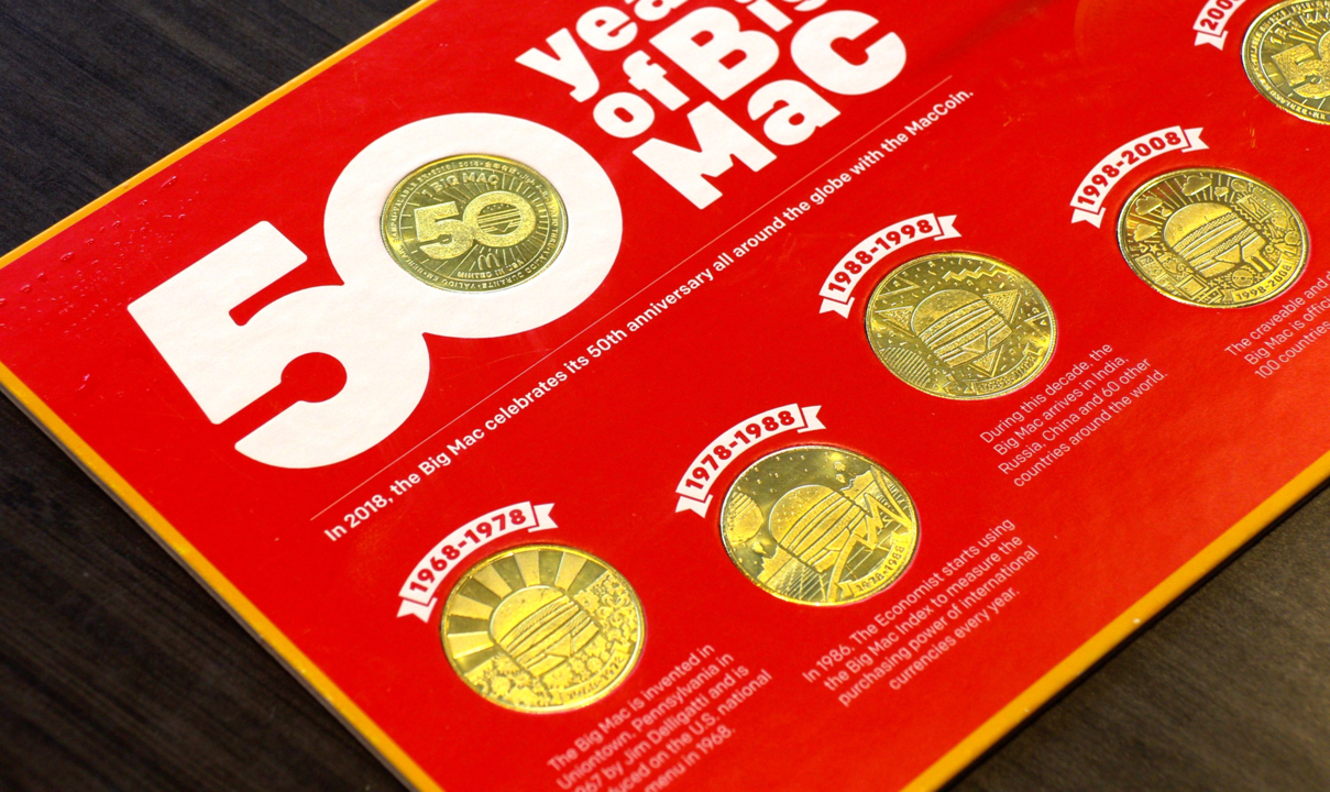 McDonald/'s 50 Years Big Mac Anniversary Mac Coins 1968 1978 1988 1998 2008 2018