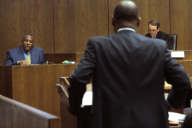 Defense attorneys Stacey Jackson and Michael Eddings square off during murder trial