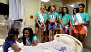 Miss Georgia contestants make tiaras and fun masks to give young patients at The Children's Hospital at Piedmont Columbus Regional Healthcare Midtown Campus
