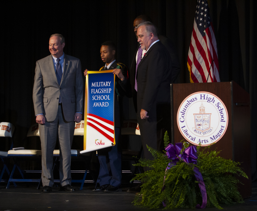 'It's not a cliquish school.' Columbus High awarded for welcoming students in military families.