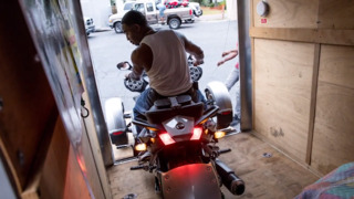 Bikers pack up early ahead of storms on Sunday in North Myrtle Beach